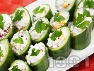 Рецепта Пълнени краставици с извара